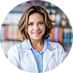 Adult female pharmacist looking at camera